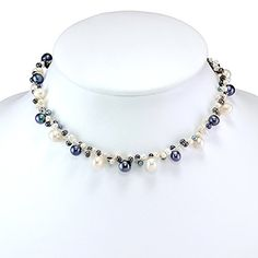 Silk Thread and Black White Cultured Freshwater Pearl Peacock Princess  Length Necklace 5bac53a57fa1