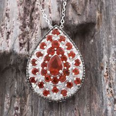 Jalisco Cherry Fire Opal Pendant with Chain in Platinum Overlay Sterling Silver (Nickel Free)