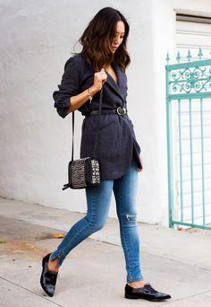 1. Belted Blazer + Skinny Jeans + Oxfords