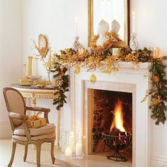 Love this greenery with gold accents, but really love the wrought iron fire thing...