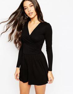 109ed8afc99 Jersey Ruched Wrap Front Playsuit