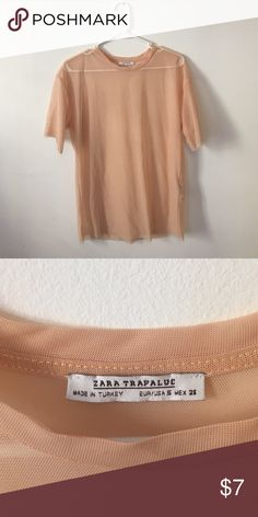Sheer Peach Tee by Zara Trafaluc Sheer tee great for layering over a tank or bralette. On-trend and versatile piece by the Trafaluc line by Zara. Zara Tops Tees - Short Sleeve