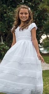 Communion Dress - Sarah Louise 9957 - New 2015 - White Satin and Vintage Lace Ankle Length Communion dress