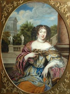"The fashionable Hurluberlu (came in c. 1665) used women's own hair instead of a wig. Mme de Sevigne complained it forced women to sleep ""with a hundred rollers, which make them endure mortal agony all night long"" and made them look ""en vrai fanfan"" or just like boys. But she  loved it on her own doted-upon daughter. Here worn by Mme de Montespan, Louis XIVth's morganatic wife."