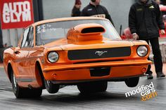 Orange Mustang Drag Car