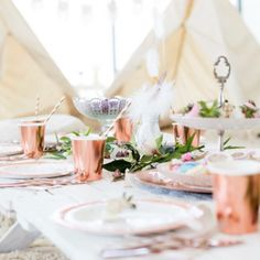 Rose gold and white Boho picnic styled by Sweet Dreams and Goodnight