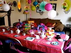 It was cold outside so we had to transform our living room to a Mad Hatter Tea Party #party #alice