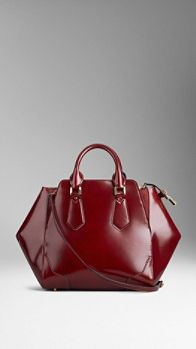 Medium Polished Leather Tote Bag | Burberry