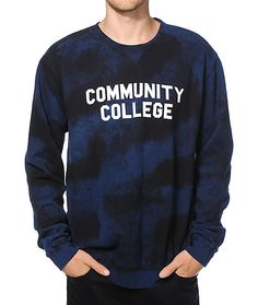 Rep that education with a white Community College text graphic on the chest of a navy tie dye design with a tagless soft fleece lining for premium comfort.