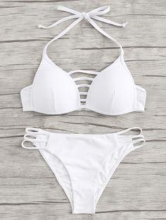 Trendy Bikinis and Swimsuits Gitter Sommer Gabi SwimwearWhite Lattice Cutout Halter Bikini Set Bathing Suits For Teens, Summer Bathing Suits, Swimsuits For Teens, Cute Bathing Suits, Cute Swimsuits, Halter Bikini, Baby Bikini, Bikini Swimwear, Swim Suits Bikinis