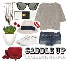 """Saddle Up"" by gokarm ❤ liked on Polyvore featuring Helmut Lang, rag & bone, MANGO, Ray-Ban, Pomax, SoulMakes, Moleskine, Salvatore Ferragamo and saddleup"