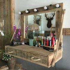 Rustic Vanity, Wooden Vanity, Diy Vanity, Rustic Makeup Vanity, Vanity Desk, Vanity Tables, Makeup Vanities, Diy Pallet Vanity, Vintage Vanity
