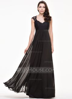 A-Line/Princess V-neck Floor-Length Zipper Up Cap Straps Sleeveless No Black Spring Summer Fall Winter General Plus Chiffon Lace Bridesmaid Dress
