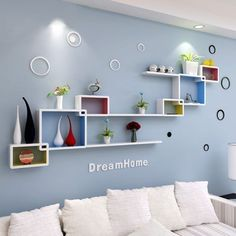 25 gorgeous living room color schemes to make your room 11 Wooden Wall Shelves, Wall Shelves Design, Wall Design, Floating Shelves, Corner Shelves, Ceiling Design, Living Room Color Schemes, Living Room Colors, Living Room Decor