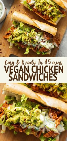 This vegan chicken sandwich with a dairy-free yoghurt sauce and avocado is ready in 15 minutes! Great for a delicious lunch, or for bringing along to picnics and BBQs. #vegansandwich #veganchicken Vegan Sandwich Recipes, Veggie Sandwich, Chicken Sandwich, Vegan Recipes Easy, Vegan Sandwiches, Vegan Lentil Burger, Lentil Burgers, Vegan Burgers, Vegan Seitan Recipe