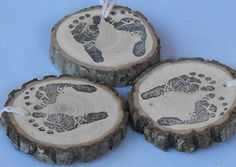 10 Rustic Tree Slice Charms Baby Feet Shower Table Decoration, Party Decoration by OzarkCraftWood on Etsy