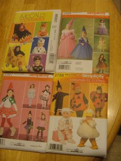 LOT OF 4 SEWING PATTERNS COSTUMES - SIZES 1/2 - 8 CHILDRENS CUSTUMES BOYS GIRLS #SIMPCICITYMCCALLS