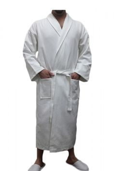 Waffle Diamond Shawl Collar Robe.100% soft natural cotton. Lightweight and Absorbent. 100% Cotton Waffle Inside & Outside.  Two Patch Pocket...