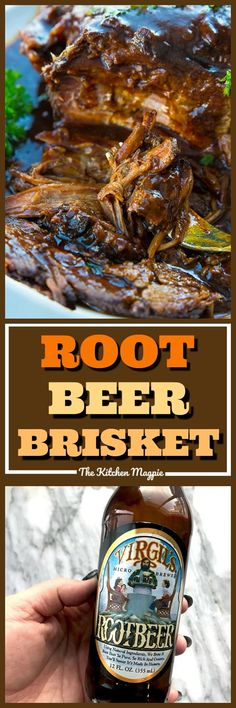 Root Beer BBQ Slow Cooker Brisket will thrill kids and adults alike! Using root beer and BBQ sauce together makes this the easiest and tastiest slow cooker brisket you'll ever have! Put this on your permanent dinner rotation list! Slow Cooker Brisket, Slow Cooker Bbq, Slow Cooker Recipes, Crockpot Recipes, Cooking Recipes, Budget Recipes, Slow Cooking, Easy Recipes, Beer Recipes