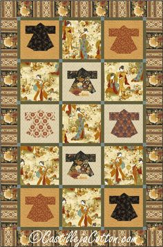 Kyoto Kimonos Quilt Pattern CJC-4782 (advanced beginner, lap and throw)