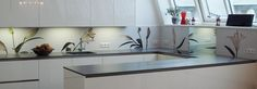 Our pimped kitchens section shows you our splashback designs in a finished kitchen: Finishing Touch: White Lilies