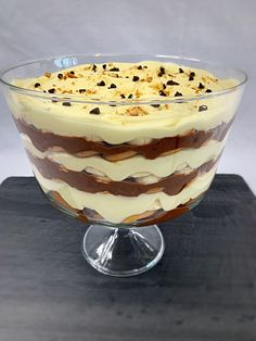 This Chocolate Banana Icebox Trifle is an attractive upgrade to one of our family favorites! It was originally created years ago as an easily thrown together, no-frills, no-bake, chocolate banana icebox cake for my children when they were young and our budget was tight. Try it and I guarantee it will become one of your family favorites too!  #mysweettoothbakery #summerdesserts #iceboxcakes #trifles #chocolatetrifles #bananatrifles #bananaiceboxcake #chocolateiceboxcake #nobakedesserts Chocolate Morsels, Chocolate Pudding, Summer Desserts, No Bake Desserts, Banana Mousse, Icebox Cake Recipes, Trifles, Sweet Tooth, Bakery