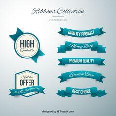insignias y cintas de color turquesa lindo en estilo de la vendimia Vector Gratis