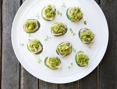 Seared tuna is always a crowd pleaser, and serving it on cucumber slices helps keep things light.