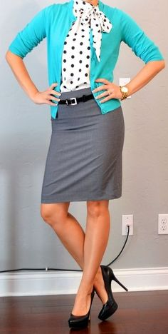 Like the idea of a tie blouse. pop of color + pencil skirt + polka dots = adorable work outfit.