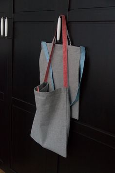 shoulder cotton bag, tote in soft grey and grainy vintage red and blue, by my mom/mywhiteroom