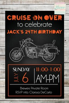 Motorcycle Custom Birthday Party Printable by LuxePartySupply, $10.99