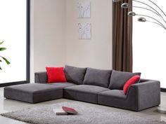 Canapé modulable en tissu gris et 2 coussins déco HOUSTON