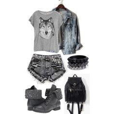Punk fashion :) love everything but the shoes and the backpack