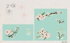Some sketches and the motives for the pattern Almond Blossom by Nu Bkds - Skillshare