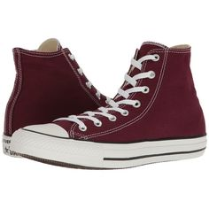 Converse Chuck Taylor All Star Seasonal Color Hi (Burgundy) Lace up... found on Polyvore featuring shoes, sneakers, star shoes, high top trainers, burgundy sneakers, converse high tops and converse shoes