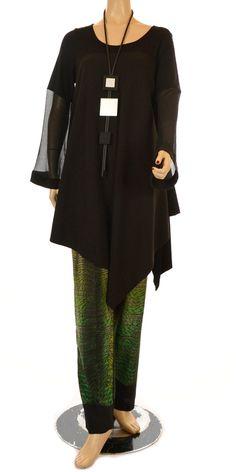 Xenia Design Exclusive Black Asymmetric Drop Point Long Sleeve Tunic/Dress