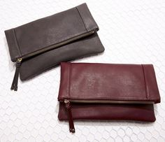 These vegan leather foldover clutches will store your essentials