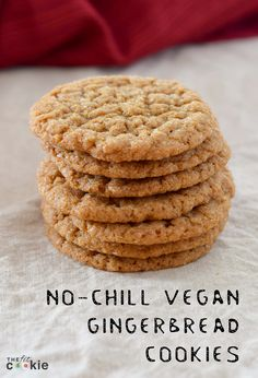 Want to make some gingerbread cookies quickly without chilling the dough and rolling it out? Make these easy No-Chill Vegan Gingerbread Cookies! - @TheFitCookie #cookies #vegan #recipe