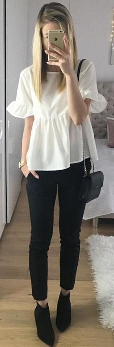 #winter #outfits white short-sleeve blouse