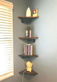 Industrial style corner shelves is made out of black iron pipe or silver galvanized, and knotty pine boards. These 2 shelves come as a pair and are mirror images of each other. They have only one wall mounting bracket each, one of which bends right and down, the other goes left and down. So
