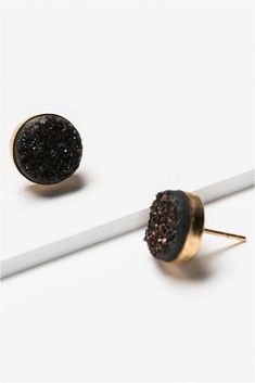 """You will receive so many compliments! Subtle sparkly black druzy gemstone stud earrings in gold. The perfect earring for every day or going from day to night. These may replace your """"go to"""" pair. Artisan jewelry and luxury bridal accessories handmade in Maryland by Alison Jefferies of J'Adorn Designs.  #druzyjewelry #druzyearrings #studearrings Custom Jewelry, Jewelry Shop, Jewelry Design, Handcrafted Jewelry, Artisan Jewelry, Fall Wardrobe Essentials, Summer Wardrobe, Stud Earrings, Bridal Earrings"""