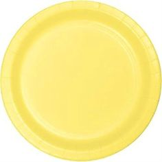 "Custom & Unique {7"" Inch} 24 Count Multi-Pack Set of Medium Size Round Circle Disposable Paper Plates w/ Single Colored Seasonal Sumer Party ""Bright Yellow Colored"" mySimple Products"