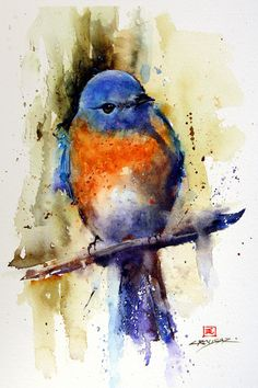 EASTERN BLUEBIRD 8 x 10 gloss ceramic tile featuring the art of one of my original watercolor paintings. Tile is complete with attached backer