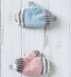 Modèle moufles rayées bébé