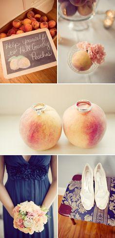 navy + peach