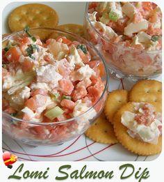 Delicious Lomi Lomi Salmon DipSimple and tasty lomi lomi salmon dip recipe. Enjoy!    Print    Lomi Lomi Salmon Dip     Cuisine:Hawaiian Local Style Recipe Recipe type:Dips        Ingredients  1 block (8 oz.) cream cheese 1 ...