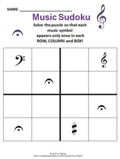 This FREE download contains one 4 x 4 music themed Sudoku puzzle. The answer sheet is also included.