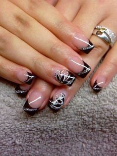 39 French Nail Art Design Ideas to Beautify Your Nail Long French Tip Nails, Black French Nails, French Nail Art, Matte Black, French Tip Nail Designs, Diy Nail Designs, Stylish Nails, Trendy Nails, Diy Nails