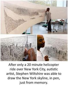 Stephen Wiltshire is an autistic artist who draws and paints detailed cityscapes. He has a particular talent for drawing lifelike, accurate representations of cities, sometimes after having only observed them briefly. Check out http://www.youtube.com/watch?v=dAfaM_CBvP8 where he draws a panorama of Rome after a short helicopter flight. Incredible. His website,  http://www.stephenwiltshire.co.uk