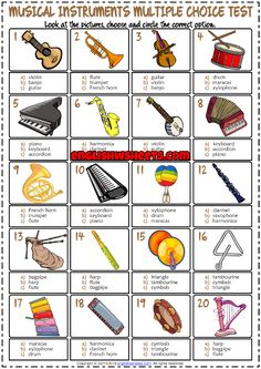 Musical Instruments ESL Printable Multiple Choice Test For Kids Music Worksheets, Vocabulary Worksheets, Vocabulary Strategies, Test For Kids, Music For Kids, Vocabulary Games For Kids, Music Activities, Spelling Activities, Music Maniac
